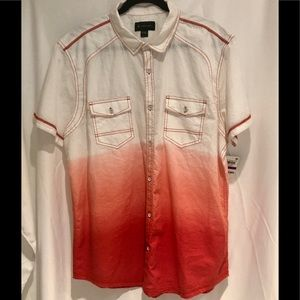 INC New With Tag Dip Dye Button Short Sleeve Shirt